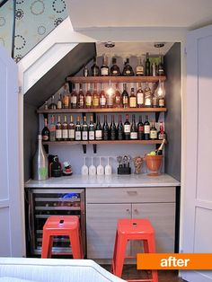 This couple wanted to create a space in their Upper West Side apartment dedicated to displaying and enjoying wines. While they didn't have a lot of kitchen space, they did have this under-the-stairs closet, ripe for transformation.