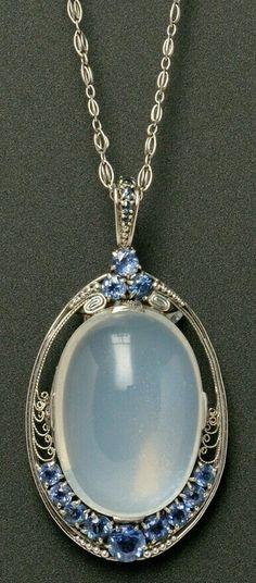 Moonstone, and Sapphire Pendant. Tiffany.