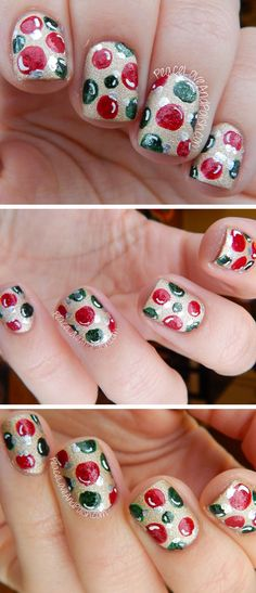 Gold, Red & Green Christmas Ornaments   Click Pic for 20 Easy Christmas Nails Art Designs Winter   Easy Nails Designs for Short Nails