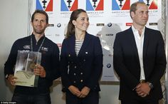 Awards: The Duke and Duchess of Cambridge present a happy-looking Sir Ben with a trophy at...