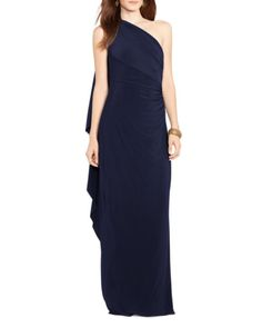 Lauren Ralph Lauren One Shoulder Jersey Gown | Bloomingdales's