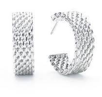 "Buy ""Tiffany Style"" Somerset Sterling Silver, Medium Hoop, Mesh Drop Earrings at Giftopia Shop Bling Jewelry, Sterling Silver Earrings, Engagement Rings, Drop Earrings, Crystals, Diamond, Mesh, Night Wear, Somerset"