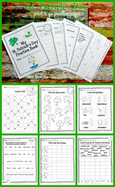 Patrick's Day Print & Go Practice Pages from The Curriculum Corner with a math and literacy focus via Writing Resources, Teacher Resources, Classroom Resources, Kindergarten Writing, Literacy, 2nd Grade Classroom, Classroom Ideas, Math Pages, March Themes