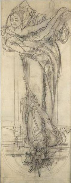 Alphonse Mucha (1860-1939) - Drawing for a Poster of Sarah Bernhardt en Médée