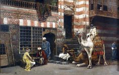 Edwin Lord Weeks(1849 - 1903)A Game of Chess in Cairo Street(1879)