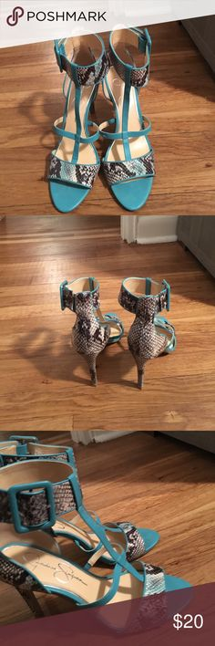 Pumps T-strap, ankle buckle  snake skin and leather pumps with 4in heel. Gently used Jessica Simpson Shoes Heels