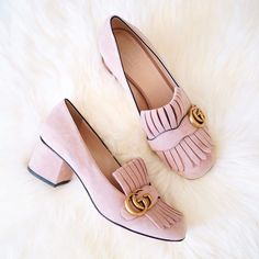 Gucci Pink Suede Marmont Pump  Erica Aulds of Erie Nick www.erienick.com