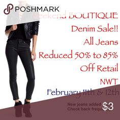 Denim Sale! Check Back Daily Check back frequently for special reductions! This wknd only! Jeans, leggings, and jeggings; sixes between 23 and 30 Jeans