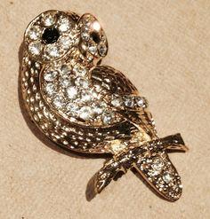 Owl Brooch Crystal Pretty by JewelryLoveCharm on Etsy