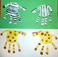 Animal Cracker Math, Handprint Zoo Animal Art & Counting Books, Oh My! G is for Giraffe, Z is for Zebra and Zoo Kids Crafts, Projects For Kids, Art Projects, Dear Zoo Activities, The Zoo, Footprint Crafts, Handprint Art, Thinking Day, Animal Crackers