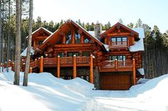 3000 to 4500 sqft log home and log cabin floor plans. Work with our in-house design team to build your full time, retirement or mountain side log cabin. Log Cabin Floor Plans, Log Home Plans, Cabin Plans, House Floor Plans, Log Homes Exterior, Log Home Interiors, Log Home Decorating, Decorating Kitchen, Log Cabin Homes