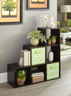 The Storage Cubeicals Organiser In Espresso With Light Green Printed Fabric Drawers Is Perfect Unit Room Divider For Your Living Or Home Office