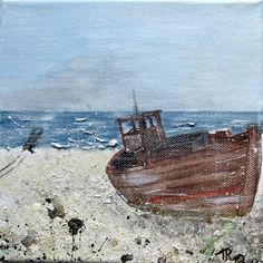 Painting boat on beach canvas 20 x 20 x 1,5 cm acrylic painting CharmePainting 33,00 €