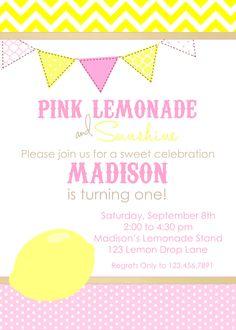 Pink LEMONADE Printable Birthday Invitation, Pink Lemonade Birthday Party Invite. $13.50, via Etsy.