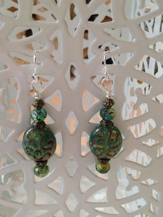 Carved Green Czech Glass Earrings by MeiCustosAngele on Etsy
