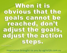 WHen it is obvious that the goal cannot be reached, don't adjust the goals, adjust the action steps - confucious