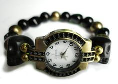 Black Obsidian and Gold Pearl Skull Watch by LyndaHayesDesigns