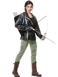 Katniss Costume Hunger Games Fancy Dress Costume Outfit Womens Ladies UK 6-18