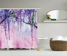 Ambesonne Watercolor Flower Decor Collection Wisteria Flowers Tree Blurred Design Polyester Fabric Bathroom Shower Curtain Set with Hooks 75 Inches Long Navy Lilac Aubergine Blue Violet ** You can find out more details at the link of the image.
