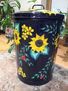 Decorative Trash Can Covers | Decorative Hand Painted 20 Gallon Galvanized by krystasinthepointe, $ ...