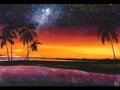Watercolor Hawaiian Night Palm Trees Painting Demonstration - YouTube