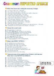 16 FREE ESL Reporting verbs worksheets