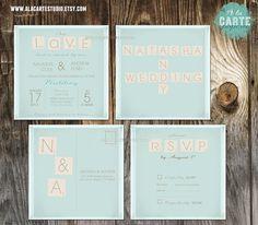 Scrabble Wedding Invitation and RSVP Suite   by alacartestudio, $35.00