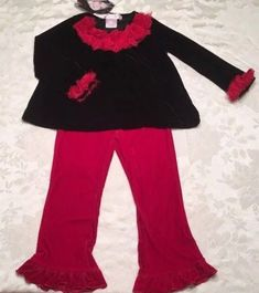d3a26d91591 Greggy Girl Size 4T Holiday Outfit Black Red Velvet Christmas Set Top Pants