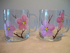 Set of 2 Hand Painted Pink Apple #Blossom #Glass Mugs by GlassicsBySarah
