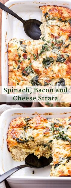 Spinach, Bacon and Cheese Strata will be a fantastic addition to your next holiday brunch or weekend breakfast! Make it the night before and bake it in the morning for a stress free, hearty egg dish everyone will enjoy! Strata Recipes, Egg Recipes, Brunch Recipes, Breakfast Recipes, Cooking Recipes, Breakfast Crockpot, Breakfast Ideas, Brunch Foods, Brunch Drinks