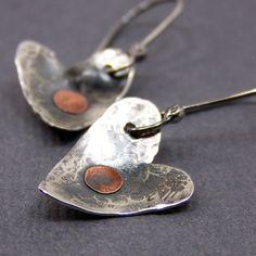 Industrial Heart Earrings by AmpleGoddess on Etsy, $30.00