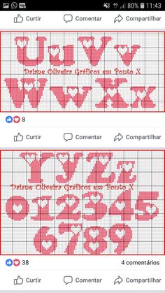 punto croce by hand Crochet Alphabet, Crochet Letters, Cross Stitch Alphabet Patterns, Cross Stitch Letters, Cross Stitch Heart, Stitch Patterns, Plastic Canvas Letters, Graph Paper Art, Graph Design