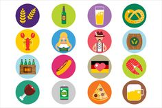 Set of flat Oktoberfest vector icons by Vector-Stock on Creative Market