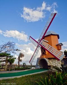 windmill on a miniature golf course