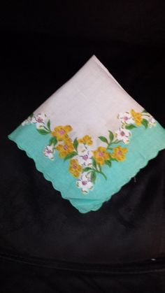 Free Shipping - Vintage Handkerchief  - Aqua with sweet flowers all around. by TeresaScholleDesigns on Etsy