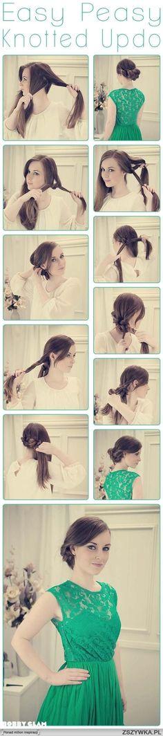Zobacz zdjęcie diy, diy projects, diy craft, handmade, diy easy peasy knotted updo hairstyle w pełnej rozdzielczości