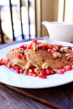 Strawberry Granola Pancakes- could try with blueberries instead like at the restaurant I like