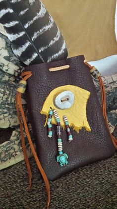 Deer Hide Pouch to keep your Precious Items in.  Made by Fox Run Leather Designs.