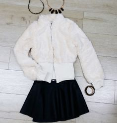 Top Seller Luxurious Beige Faux Fur Jacket with Flirty Black Faux Leather Skirt   #fashion #shopping #sweater #gift #holiday #party #trendy #skirt #fauxleather #jacket #dress #short #shirt #cardigan