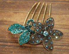 Teal Blue Gold Rhinestone Flower Blossom Hair Comb