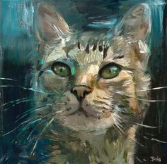 "Daily Paintworks - ""Blue Cat "" - Original Fine Art for Sale - © adam deda"