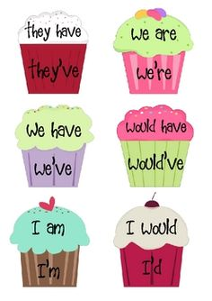 Students can use this activity as an opportunity to learn what exactly contractions are. Art is used through choosing colors (warm/cool) to make their cupcake and designing it as they choose. Along with art students learn la Teaching Reading, Teaching Tools, Student Learning, Kids Learning, Teaching Resources, Teaching Ideas, Learning Games, Teaching Language Arts, Teaching English
