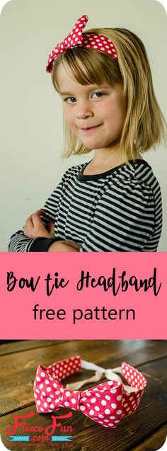 I love this cute bow tie hairband tutorial.  It's a great handmade gift idea.  Such a cute sewing DIY idea. via @FleeceFun