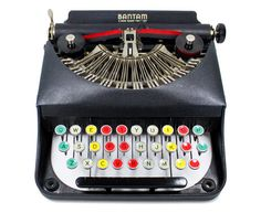 RESTORED Rare Antique Bantam Manual Typewriter with Color Glass Keys made by Remington in the Original Case