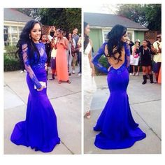 2014 New Arrival Full Sleeve Mermaid Long Party Dresses/Charming Blue Taffeta Sexy Backless With Appliqued Lace Prom Dresses $139.00