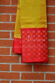 Mustard Yellow Kuppadam Saree with Broad Red Zari Balls Border