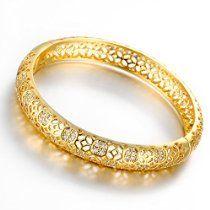 Dilanco 18K Yellow Gold Plated Multi-Gemstone Hollow Bangle Bracelets for Women