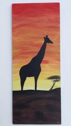 Giraffe, schilderij op houten paneel, verkocht