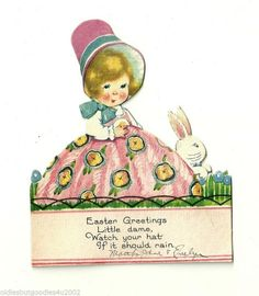 Exquisite Vintage 1930's Child's Easter Greetings Card. Very Collectible