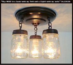Mason Jar LIGHT FIXTURE New Pint Trio *** Continue to the product at the image link.